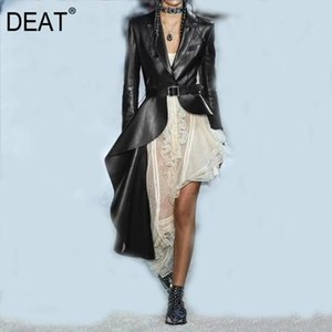 DEAT Autumn And Winter Fashion Clothes Women Turn-down Collar Full Sleeve PU Leather Asymmetrical Windbreaker Trench WJ15101L