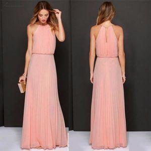 Fashion Dress Womens Formal Chiffon Sleeveless Halter Dress Prom Evening Party Long Maxi Dress Women Jul20 Designer Clothes