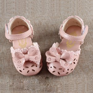 White Pink Baby Toddler Little Girls Infant Summer Bow Princess Dress sandals For Girls Flat Hollow Sweet Leather Sandals Shoes