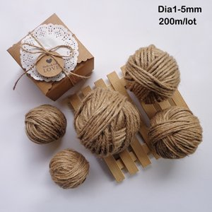 200m / Roll Natural Rope DIY Tag Label Hang Rope Wedding Home Foven Decorative Twine Jute String Gardening Cord Dia.1,2,3,4 مم
