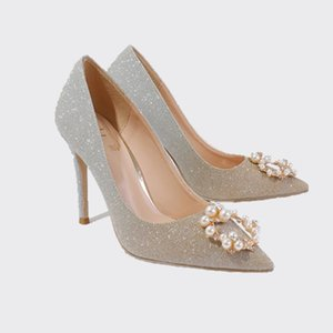 The new 2020 shoes diamond point single thin shallow mouth with pearl clasp gradient high heels