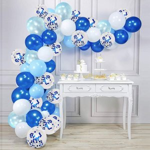 50pcs 12 inch Balloons Garland Kit Light Blue Baby Blue and White Party Balloons for Birthday Party Decoration Kids Boy Baby Shower Supplies