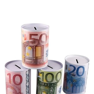 Metal Cylinder Piggy Bank Euro Dollar Picture box Unique Household Seal Money Box Home Decoration