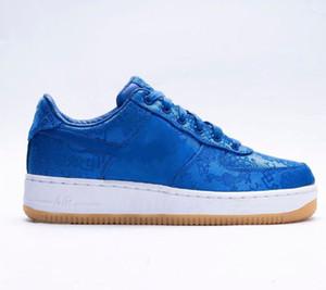 2019 Nova CLOT x 1 Um Premium Game Skate Azul Royal Silk Shoes Homens Mulheres Formadores Sneakers Sports Chaussures