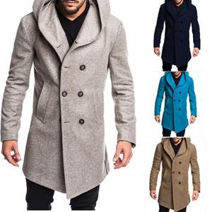 Sonbahar Kış Erkek Uzun Trençkot Moda Butik Yün Palto Marka Erkek İnce Yün Rüzgarlık Ceket Plus Size S-3XL