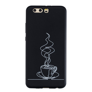 Coque Fundas Couverture Pour Huawei P10 / P10 Lite / P10 Plus Case Noir Doux TPU Mat Coups simples de la personnalité Peinture abstraite Cas Téléphone