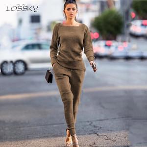 Lossky due pezzi Imposta solido casuale lavorato a maglia Abbigliamento Top + Lace-up Pant Women Moda Autunno Inverno a maniche lunghe Outfits Lounge Wear