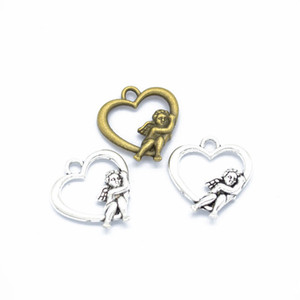 Bulk 300pcs lot angel in heart charms pendant 20*18mm good for your DIY craft, jewelry making