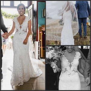 2020 new Beach Mermaid Lace bohemian Wedding Dresses V Neck abiti da sposa vintage wedding gown vestidos de noche