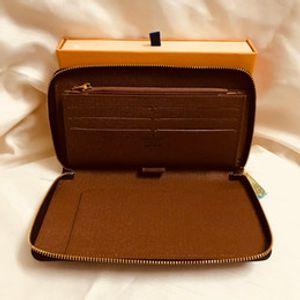 Wholesale 6 colors fashion single zipper designer men women leather wallet lady ladies long purse with orange box card 60017