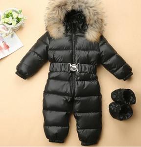 Зима Дети Детские комбинезоны комбинезон для новорожденных Мальчик девочки утепленные натуральным мехом пуховик Детская одежда для новорожденных Rompers