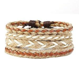 Man cowhide Leather Bracelet DIY hand woven Multilayer Woven hemp rope bracelet Combination suit Bracelet 4styles 1set