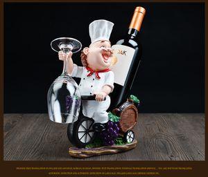 Résine Chef de Wine Rack Bouteille de vin Porte-vin Accueil Décorations étagères Artisanat Tablette pour rack Party Promotion