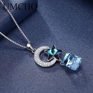 UMCHO Yıldız Gerçek 925 Gümüş düzenlendi Mavi Kristal Taşlı Kolyeler pendents İçin Kadınlar Partisi Düğün Hediye ile Zinciri