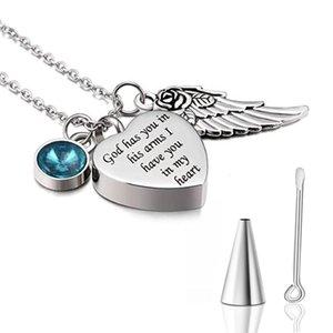 Dieu vous a dans ses bras avec Angel Wing Charm Crémation Cendres Bijoux Keepsake Urne Collier avec Memorial Cristal Birthstone
