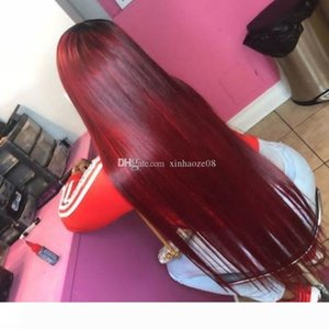 Brazilian Burgundy Lace Front Wigs For Black Women Wine Red Glueless Straight Virgin Hair Pure 99j Full Lace Human Hair Wig