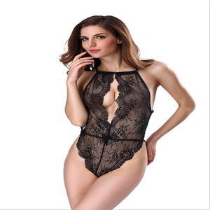 Seksi Dantel Bodysuit Kadınlar 2017 Yaz Backless Derin V-Yaka İnce BODYCON tulum Bayan Tulum tulumları Lingerie Tops