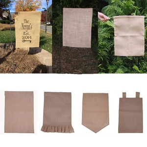31*46cm Burlap Garden Flag DIY Jute Ruffles Linen Yard Hanging Flag House Decoration Portable Banner 4 Styles In Stock YD0308