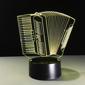 LED 3d Night Light Музыкальный Инструмент Аккордеон 3D USB LED Лампа Романтический 7 Цветов Изменение Настроения Атмосфера Лампа Украшения Подарок