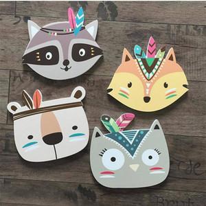 Симпатичный мультфильм Детские Детская комната стены наклейки Fox Медведь Cat печати Tribal Индийский стикер стены для детей Детская комната Плакат