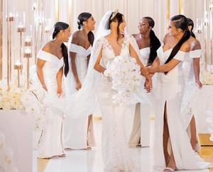 Africano branco à moda baratos da dama de honra vestidos longos Mermaid Alças V-Neck Convidado de Casamento vestido até o chão Satin Partido Vestidos