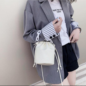 Solid Color PU Leather Mini Bucket Bags Female Crossbody Bags Summer Women Travel Chain Shoulder Handbags White A29