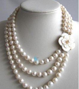 Collier de perles naturelles parfaite, 17-20inches 4rows 7-8mm Collier perles d'eau douce, fermoir fleur Shell, Nouvelle-Livraison gratuite