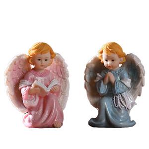 Rose Bleu Enfants Ange Statue Gospel Christian Garçons Filles Baptême anniversaire baptême chrétien catholique cadeau Sculpture meilleurs cadeaux