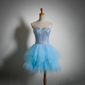 Sky Blue Tulle Homecoming Dresses Prom Dress Short A Line Party Wear Crystals Top Mini Skirt