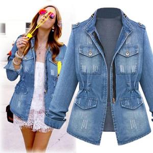 Casual pour les femmes Plus Size Denim Jeans chaîne oversize en veste de poche manteau Motif polyester solide Turn-Bas Collier