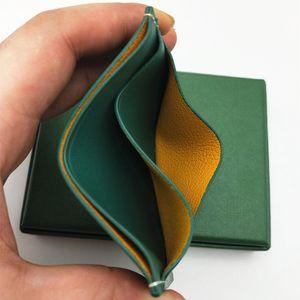 Neuer Mann-Frauen Kreditkartenetui Leinwand Beschichtet mit Echtleder-Tasche Mini Slim Geldbörse mit Kasten