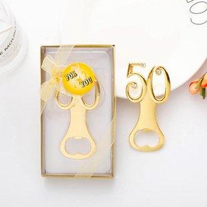 Золотые свадебные сувениры цифровой 50 открывалка для бутылок 50-й день рождения юбилейный подарок для гостей партии пользу RRA2526