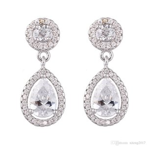 New Brand Silver Gold Cubic Zircon Bridal Engagement Waterdrop CZ Stud Earrings For Women Wedding Jewelry Gift Wholesale