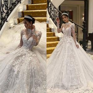 2020 Einzigartige Perlen 3D-Blumen-Spitze-Hoch Ausschnitt Brautkleider mit langen Ärmeln Garten Sweep Zug Plus Size Brautkleid Vestido De Noiva