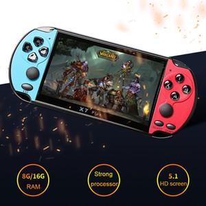 Kamera TV Çıkışı TF video 1pcs ile YENİ 8GB X7 PLUS Taşınabilir Oyun Oyuncu 5.1 İnç Geniş PSP ekran Taşınabilir Oyun Konsolu MP4 Çalar