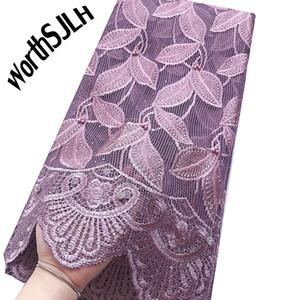 Ricamato tessuto africano del merletto Materiale Lilac Ultime Tessuto da sposa in pizzo solubile in acqua Cavo Guipure Lace tessuto per cucire