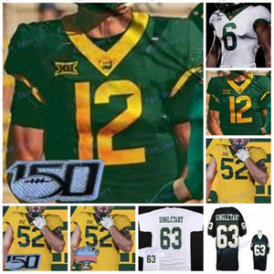 Costumbre Baylor Bears Fútbol 2020 Sugar Bowl 150TTH Blanco Verde Amarillo # 12 Charlie Brewer II 5 Denzel Mims 7 John Lovett Jersey 4XL