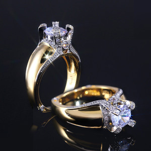 Huitan Creatice Exquisite-Ring Classic Solitaire cubico zircone pietra di colore dell'oro di donne di nozze anelli a fascia con la dimensione 6-10 all'ingrosso