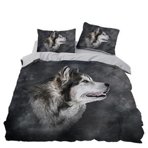 늑대 침구 세트 침실 장식 Doona 이불 커버 회색 배경 베개와 저자 극성 1PC 이불 커버