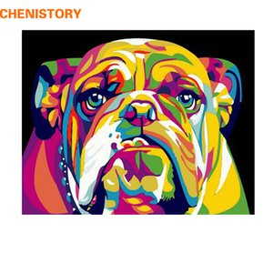 CHENISTORY Dog DIY Painting By Numbers Animals Painting Caligrafía Pintura acrílica por números para decoraciones del hogar 40x50cm Artworks