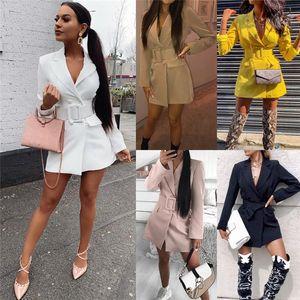 Womens Sexy Slim Bodycon Lapel Blazers Double Breasted Belt Long Sleeve Deep V Neck Dress Coat Jacket Female Outwear