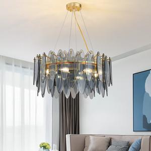 Rund Kristallleuchter-Beleuchtung Bule / Gold Mattglas-Pendelleuchte Wohnzimmer Esszimmer Grau Lustres De Cristal Smoke