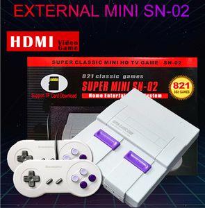 TF 카드 슈퍼 미니 SN-02 홈 시스템 TV 비디오 게임 플레이어 지원 복식 플레이어 핸드 헬드 게임 콘솔 1080P HDMI HD 출력 821 개 게임