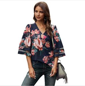 Casual Designer Floral Leopard verão camisas das mulheres V do pescoço solto meia manga Womens Tshirts Painéis oco Out Tees