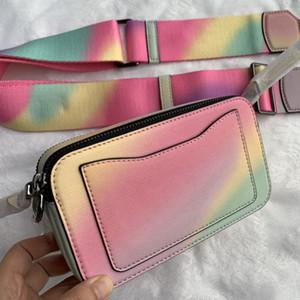 Piel Carta Wide Color del hombro de la moda de las mujeres de la correa del bolso del bolso diagonal pequeña bolsa cuadrada 19CM Crossbody bolsos monederos sacos de crear