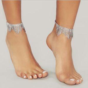 Hip hop Fashion samll tassels tennis chain anklets women 3A Zircon brilliant 2020 Newest jewelry