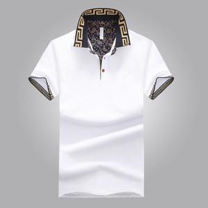 뜨거운 판매 셔츠 럭셔리 디자인 남성 여름 턴 다운 칼라 짧은 소매 면화 셔츠 남자 톱 WY115