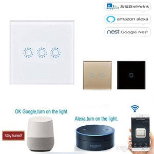 Smart Switch Wifi Touch Wall Luz 433MHz UE Smart Home toque interruptor Painel 220V Wifi Controle EWelink App, painel inteligente parede