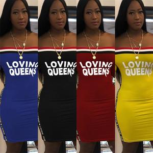 Lettre d'amour Queens Dress femmes Robes d'été à manches courtes Slash cou une pièce Jupe moulante Robe de plage vêtements féminins S-3XL