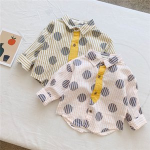 New Arrivals INS Kids Boys Girls Polka Dot Cotton Long Sleeve Turn-down Collar Blank Front Buttons Designs Children Polo Shirts